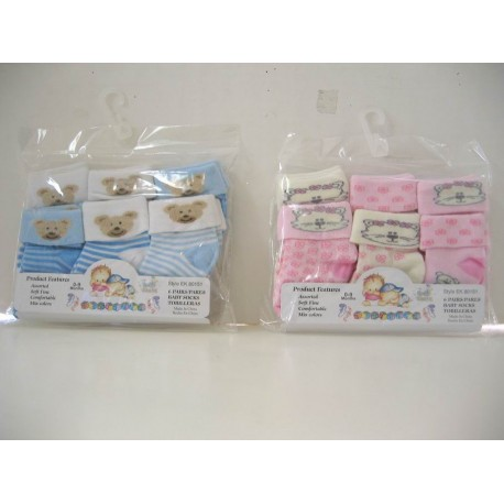 Elegant Kids 2000™ Newborn Baby Socks (6 prs/pack)
