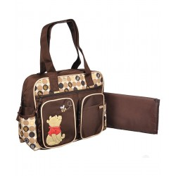 Disney Pooh Polka Dot Diaper Bag, Brown/Beige
