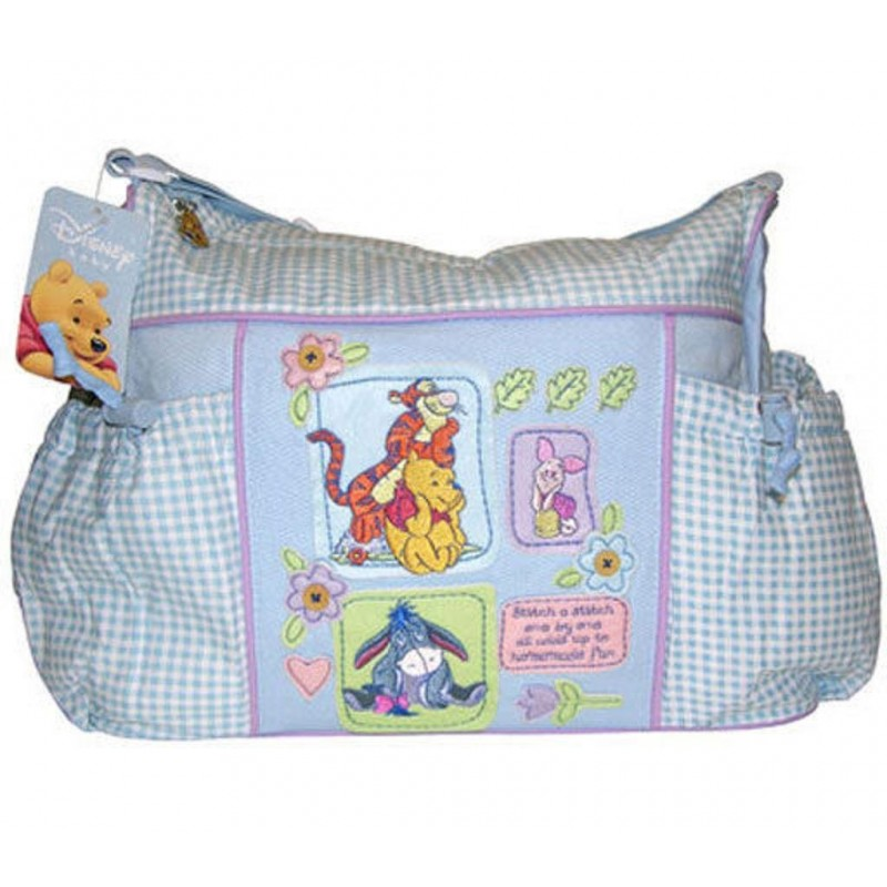 Disney Winnie The Pooh Blue Gingham Diaper Bag Large