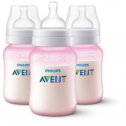 Philips AVENT Anti-Colic 9 Ounce Bottles, BPA-Free, Pink, 3-Pack (SCF404/37)
