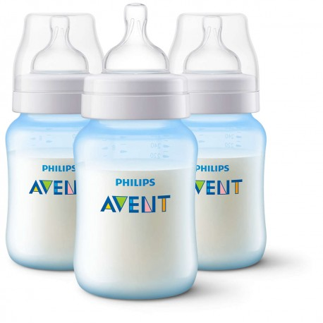 Philips AVENT Anti-Colic 9 Ounce Bottles, BPA-Free, Blue, 3-Pack (SCF405/37)