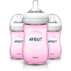 Philips AVENT Natural 9 Ounce Bottles, BPA-Free, Pink 3-Pack