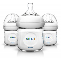 Philips AVENT Natural 4 Ounce Bottles, BPA-Free, 3-Pack