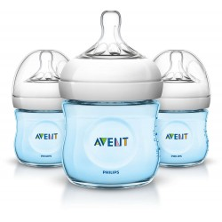 Philips AVENT Natural 4 Ounce Bottles, BPA-Free, Blue, 3-Pack